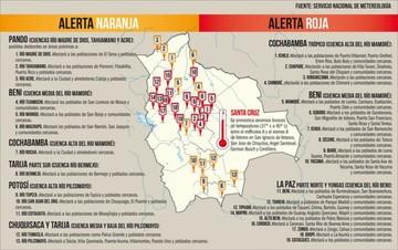 Hay alerta en 7 departamentos por la lluvia y desborde de ríos