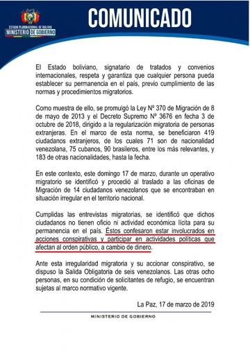 """Seis venezolanos son expulsados por realizar """"acciones conspirativas"""""""