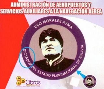 """Logo en el que se llamó a Evo """"dictador"""" era ilegible"""