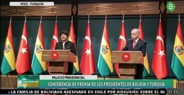 Evo anuncia que Erdogan y empresarios turcos visitarán Bolivia