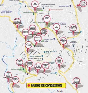 El tráfico vehicular en Sucre se queda sin puntos de fuga