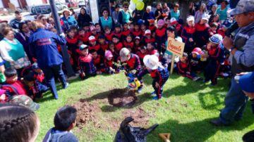 Niños plantan un árbol  en peligro de extinción