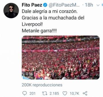 """Fito Páez celebra la """"alegría en el corazón"""" del Liverpool"""