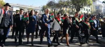 García Linera encabeza desfile cívico militar en homenaje a La Paz