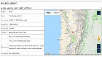 Registran sismo de 4.1 puntos de magnitud en Potosí