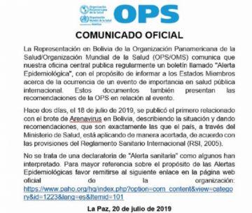 """OPS/OMS aclara que no se declaró """"alerta epidemiológica"""" en Bolivia por el arenavirus"""