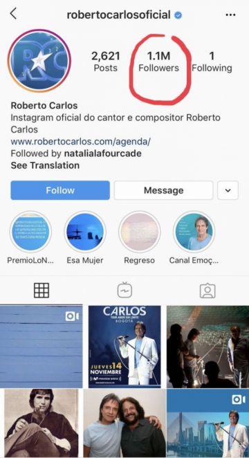 Roberto Carlos tiene un millón de amigos en Instagram