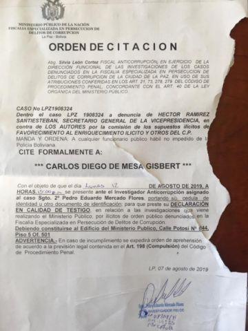 Fiscalía cita a Mesa a declarar por capitalización a denuncia de Vicepresidencia
