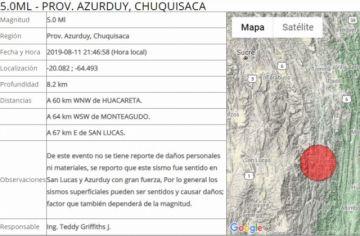 Chuquisaca: Reportan sismo en la provincia Azurduy