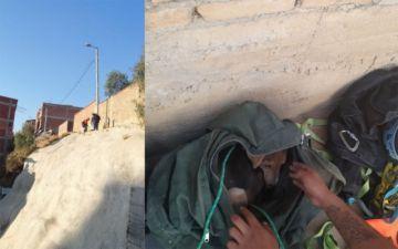 Bomberos del SAR rescatan a un can de una ladera