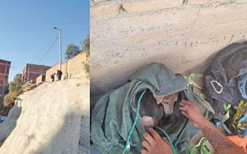 Bomberos salvan a perro que cayó en una ladera