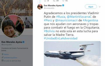 Morales agradece la ayuda internacional para apagar los incendios en la Chiquitanía