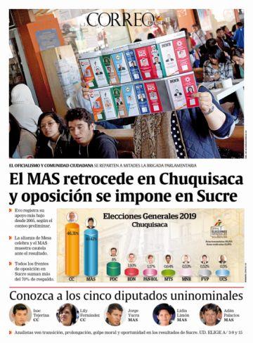El MAS retrocede en Chuquisaca y oposición se impone en Sucre