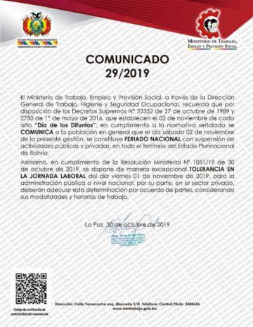 Ministerio de Trabajo confirma feriado el sábado por Día de Difuntos