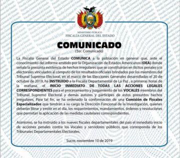 Ministerio Público anuncia investigación por presuntos ilícitos penales y/o electorales