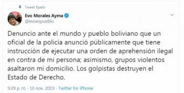 La Policía intentó aprehender esta tarde a Evo Morales