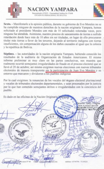 Nación Yampara pide nuevas elecciones sin Evo Morales