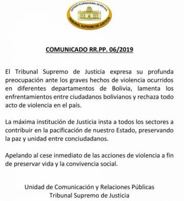 TSJ insta a pacificar el país y el cese de actos de violencia