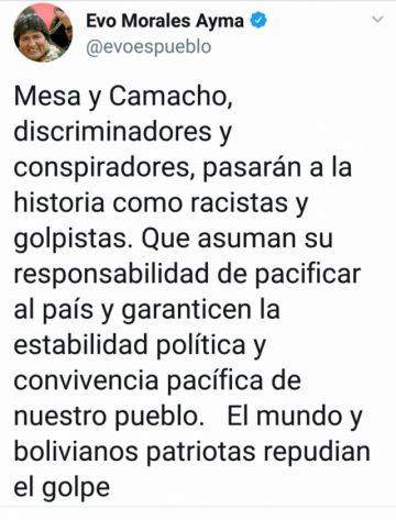 Evo: Mesa y Camacho pasarán a la historia como racistas y golpistas