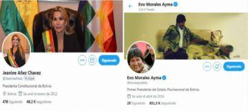 La sucesión presidencial llega a Twitter: Evo y Áñez actualizan sus cuentas