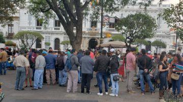 Manifestaciones en el centro de Sucre se desarrollan con tranquilidad