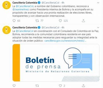 Colombia también reconoce a Áñez como presidenta de Bolivia