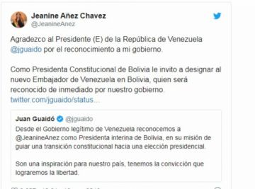Áñez pide a Guaidó que nombre Embajador de Venezuela en Bolivia
