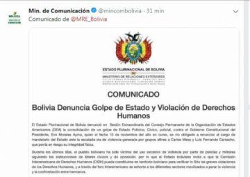 Cuentas oficiales de ministerios continúan publicando mensajes a favor de Evo Morales