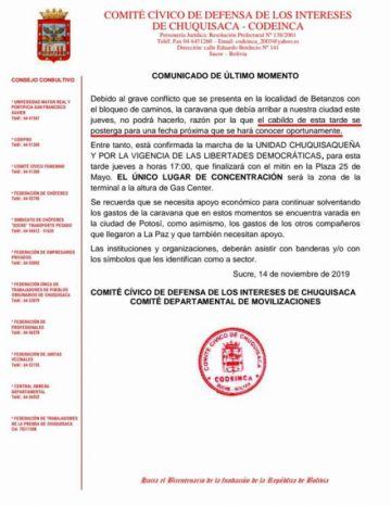 Codeinca posterga cabildo de esta tarde pero confirma marcha cívica
