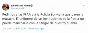 """Morales condena represión y pide a las FFAA y Policía parar """"masacre"""" en Sacaba"""
