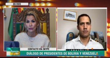La presidenta Áñez dialoga con el líder venezolano Guaidó