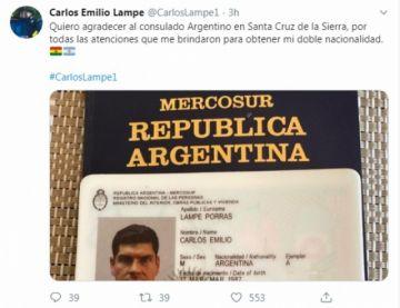Lampe adquiere nacionalidad argentina