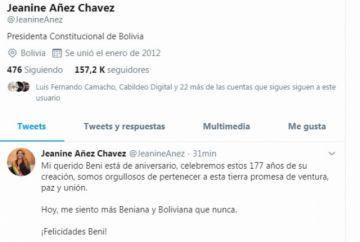 La presidenta Áñez felicita a Beni por su aniversario cívico