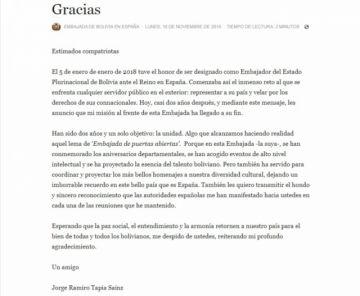 """Embajador Tapia renuncia y aboga por """"la paz social"""""""