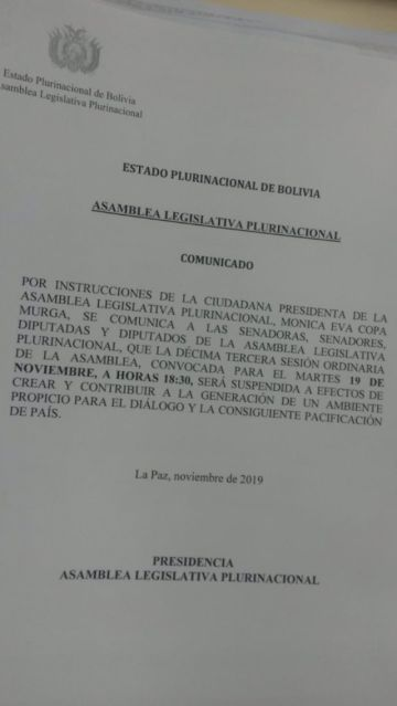 Se suspende la sesión de hoy de la Asamblea Legislativa