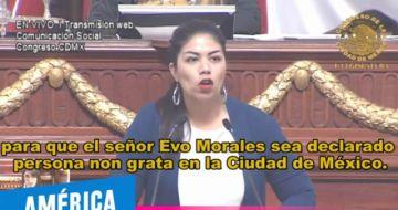 Diputada mexicana pide declarar persona no grata a Evo Morales