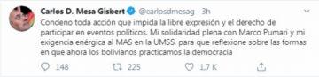 Mesa condena toda acción contra la libre expresión y se solidariza con Pumari