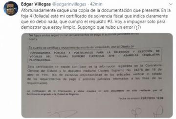 Villegas dice que está limpio y anuncia impugnación