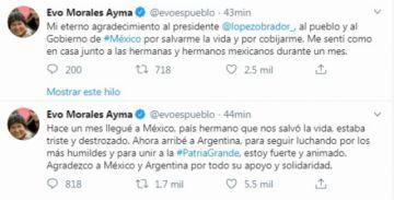 "Evo dice que llega a Argentina ""para seguir luchando"""