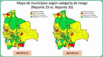 Reporte semanal: Bolivia tiene 34 municipios en riesgo alto