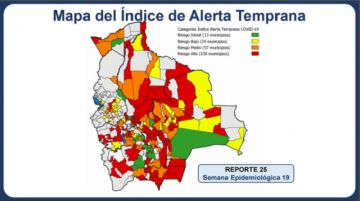 Un centenar de municipios de Bolivia está en riesgo alto de covid-19