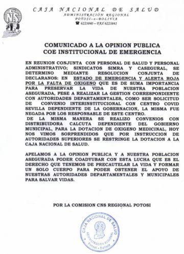 La CNS Potosí se declara en estado de alerta ante la falta de oxígeno para pacientes