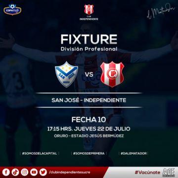 Adelantan el horario del partido entre San José e Independiente