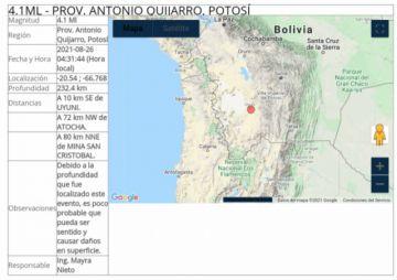 Un sismo con epicentro en Potosí se sintió en Tarija