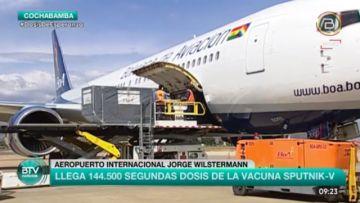 Bolivia recibe un nuevo lote de 144.500 segundas dosis de la vacuna Sputnik V