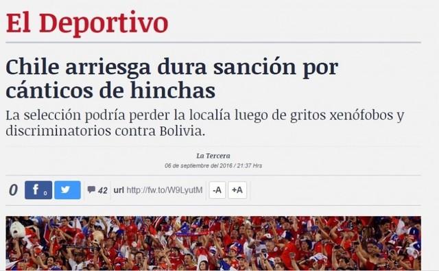 La Tercera: Chile arriesga dura sanción por cánticos de hinchas