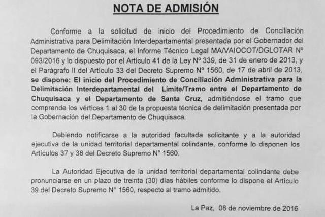Chuquisaca lamenta admisión parcial en caso de conciliación de límites con Santa Cruz
