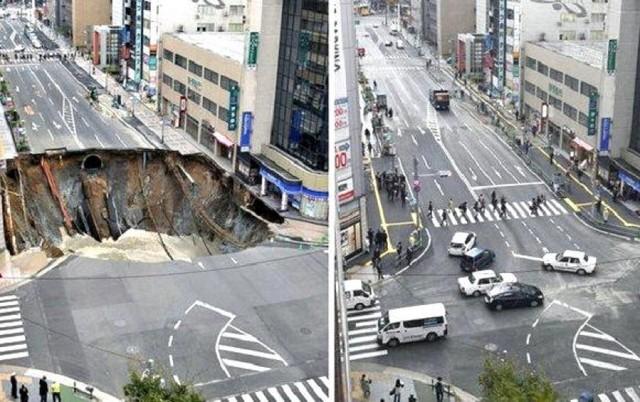 Japón: Autoridades de Fukuoka repararon vía colapsada en un tiempo récord