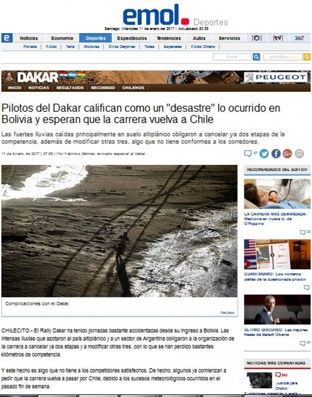 "Paco rechaza titular de diario chileno que califica de ""desastre"" el Dakar por Bolivia"