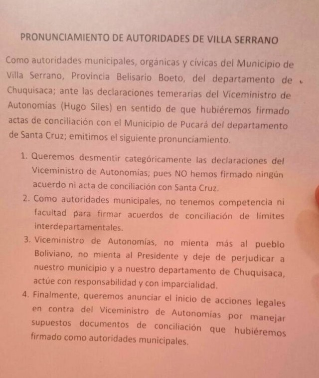 Límites: Autoridades de Villa Serrano desmienten a Siles y anuncian acciones legales
